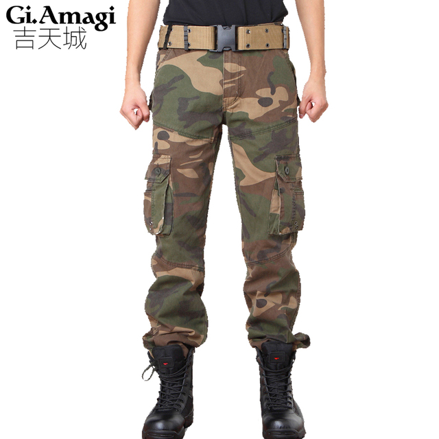 e9e34cf56e7 Army Overalls Trousers Thermal Camo Hunt Hike Pants Men s Multi-Pocket Pants  Outdoors Tactical Military Camouflage Pants Men