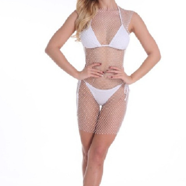 Women Bikini Bling Crystal Cover Up Tops Sexy Fishnet Hollow Out See Through Swimsuit Swimwear Tops Black White 6