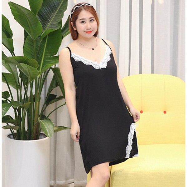 XXL-5XL Plus Size 2017 Sexy Silk Satin Lingerie Nightgown Set Large Size Nightgowns Long Sleepwear Womens Lingerie Black E1183 1