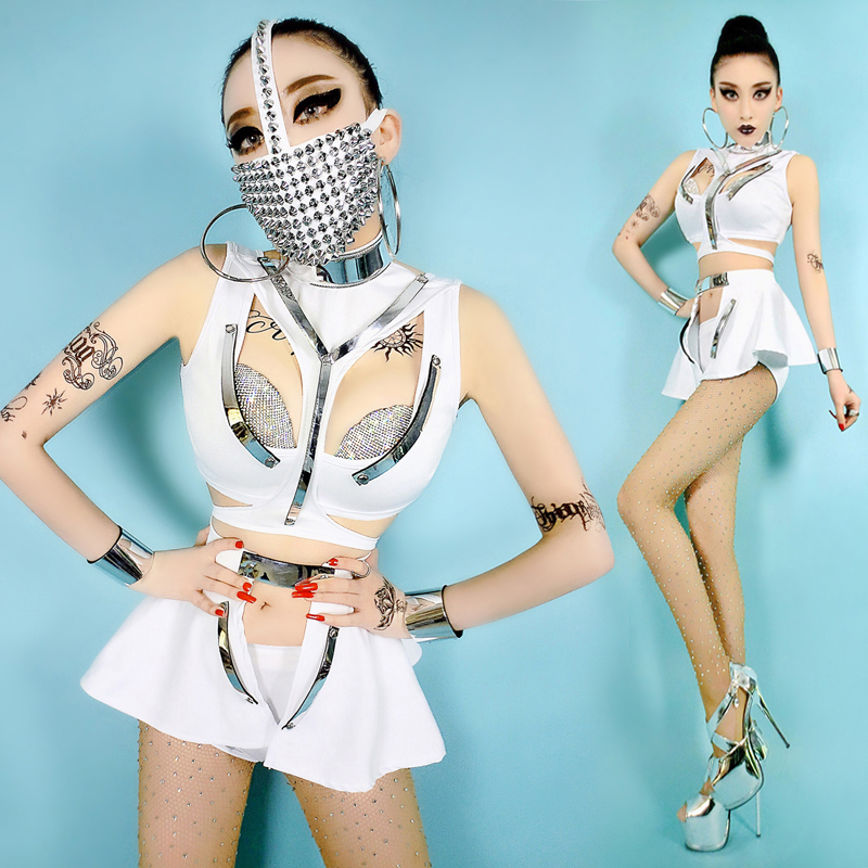 Future Female Warrior White Stage Costume Sexy Night Club Singer DJ Dance Soul Player Fancy Dress Stage Wear Cool Clothing