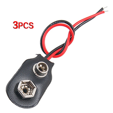 3 pcs Leather Shell 9V 9 Volt Battery Clip Connector Cable