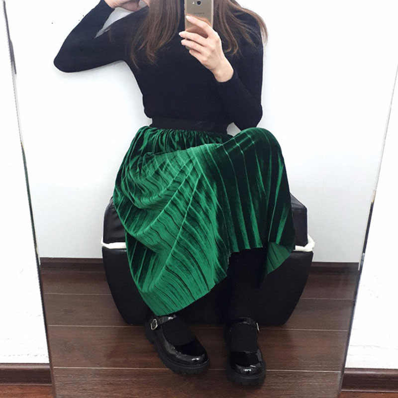 Spring Summer 2018 New Fashion Skirt High Waist Velvet Pleated Skirt Women Solid Elastic Waist Skirt Female