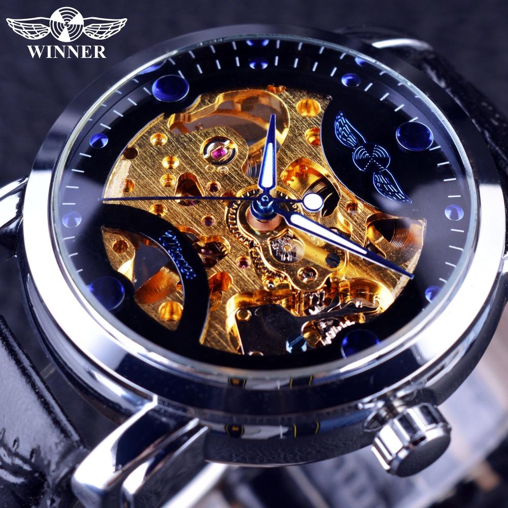 Prix pour Gagnant D'or Mouvement Bleu Océan Conception Transparent Mens Watch Top Marque De Luxe Homme Montre-bracelet Squelette Automatique Montre Horloge