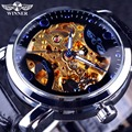 Vencedor de Ouro Movimento Projeto Transparente Do Oceano Azul Mens Watch Top Marca de Luxo Relógio de Pulso de Esqueleto Relógio Automático Relógio Masculino
