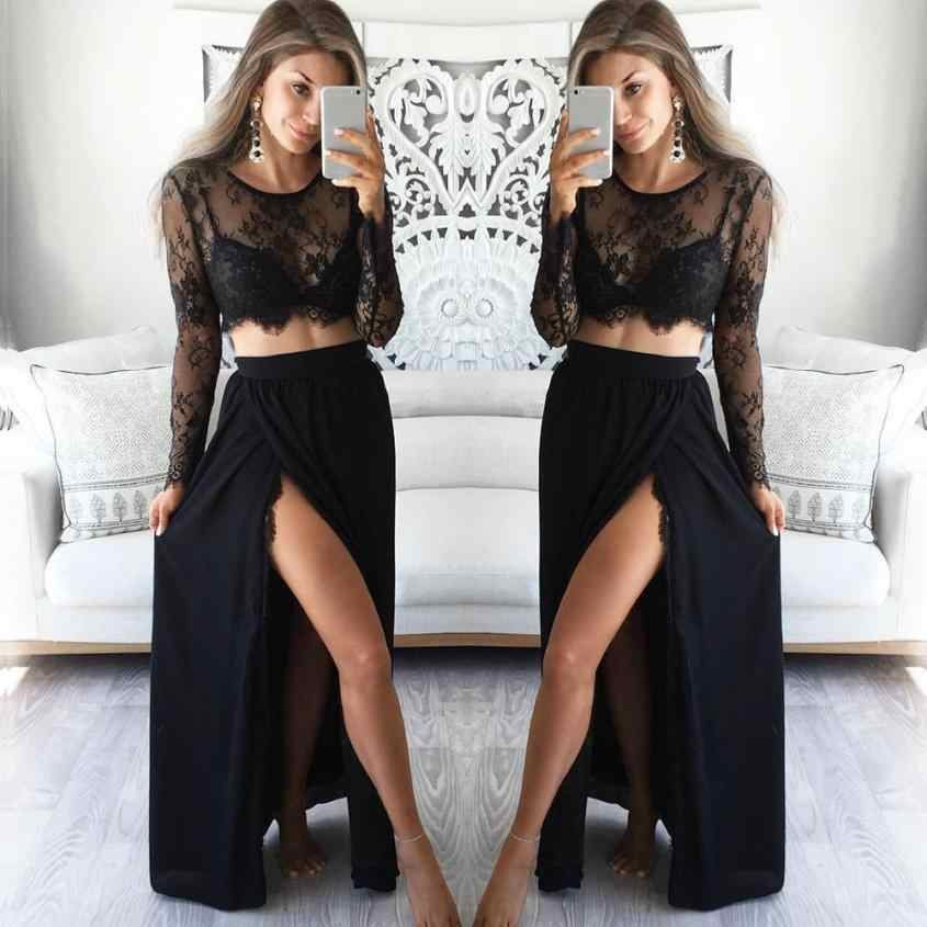 c4b498c357e KANCOOLD 2018 summer women's Skirts Sexy feminina Long Sleeve Sheer Lace  Floral Crop Tops+Bodycon Lace black 23MAYIM9
