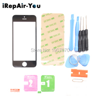 Black Front Outer Glass Lens Replacements Repair Kits For IPhone 5 5S 5C UV Glue Blade