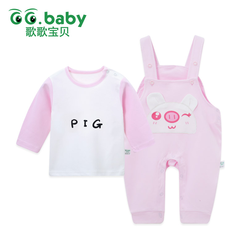 2pcs/Set Cotton Baby Sets Clothing Set Outfits Pig Long Sleeve For Autumn Baby Girl Pants Boy Clothes Set Infant Newborn Outfits newborn baby boy girl 5 pcs clothing set cotton cartoon monk tops pants bib hats infant clothes 0 3 months hight quality