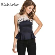 Richkoko Red Sexy Casual Female Top Tees Blue Contrast Lace Sleeveless Peplum Top Ruffle Crochet Hollow Chic Women T-shirt