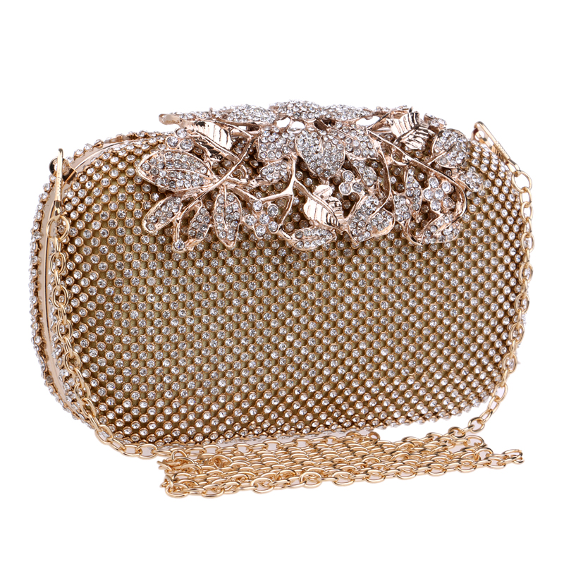 Sekusa Flower Crystal Evening Bag Clutch Bags Clutches Wedding Purse Rhinestones Handbags Silver Gold Black In From Luggage