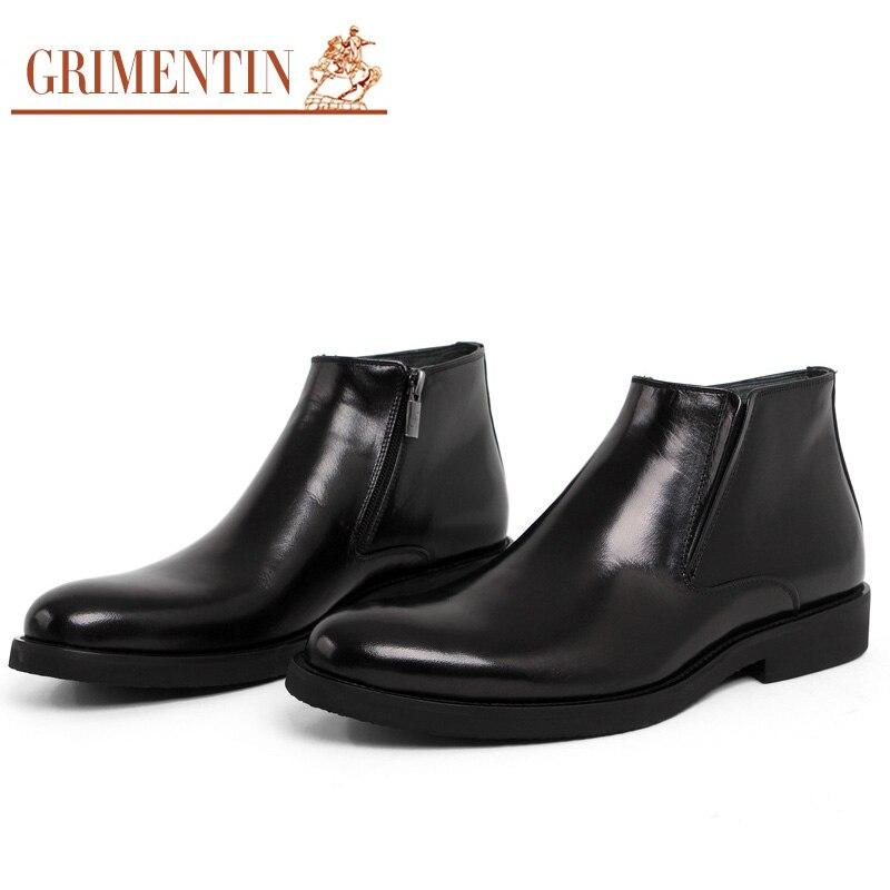 De Marca Zapatos Negocios Italiano Cómodo Calidad Genuino Cuero Grimentin Diseñador Botines Hombre Para Hombres brown Boda Zb453 Alta Black q5dpZxw7