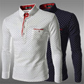 long sleeve wave point print polka dot men shirt classic black white navy blue cotton casual  men pullover