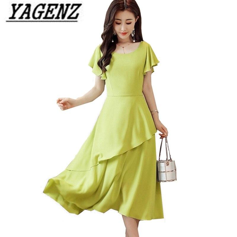 Femmes robe 2019 nouvelle mode mince élégant tempérament été en mousseline de soie robe grande taille fête solide robe de haute qualité vêtements 3XL