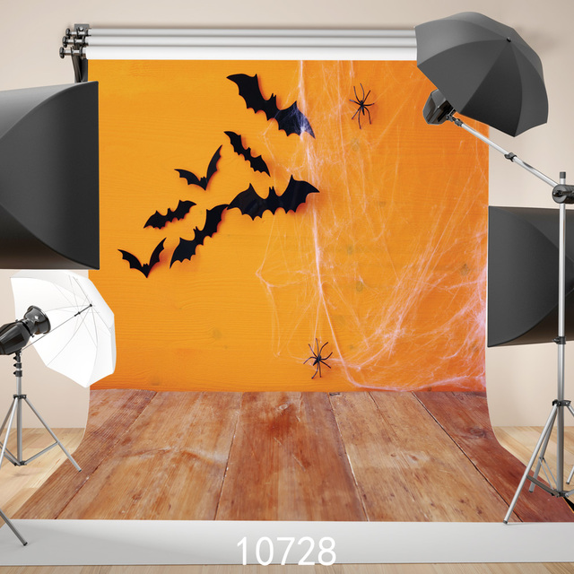 Wooden Floor Photography Backdrops Bats Spider Web Orange Backgrounds For Photo Studio Photoshoot Solid Color