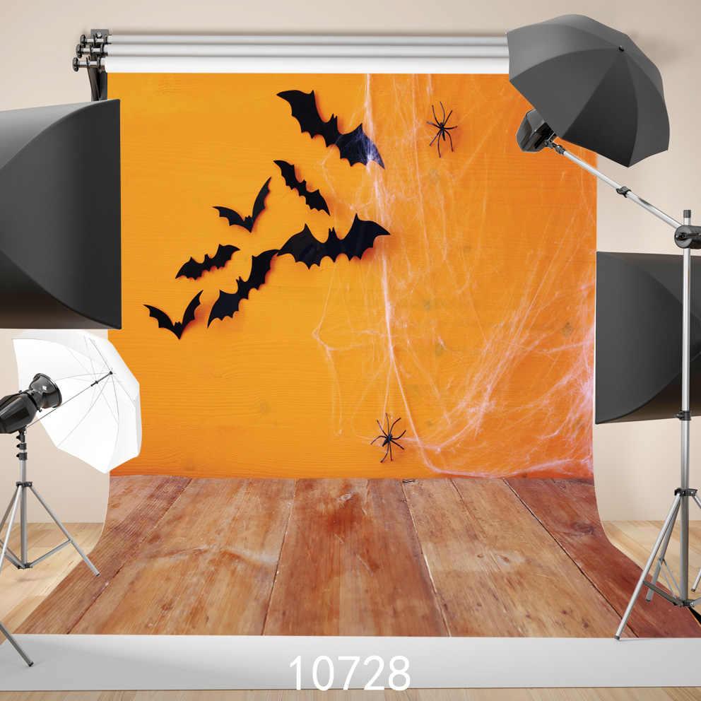 Wooden Floor Photography Backdrops Bats Spider Web Orange Backgrounds For Photo Studio Photoshoot Solid Color Vinyl Custom