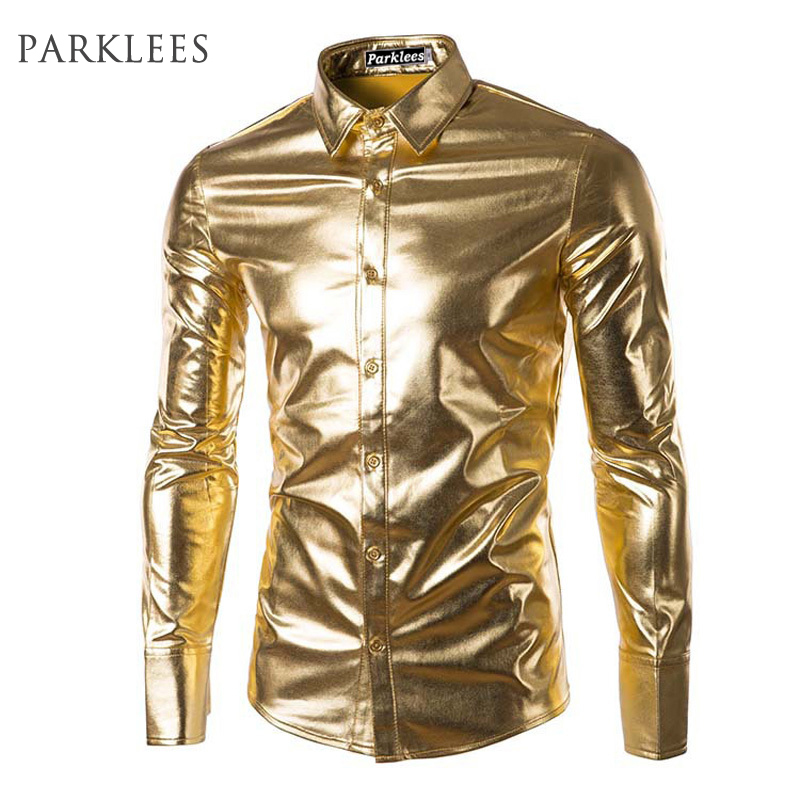 Night Club Wear Cămăși elastice pentru bărbați Slim Fit Modă Shirt Shiny Metalic Shiny Mens Cămăși cu mânecă lungă Chemise Homme Clothing