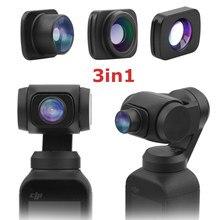 3-em-1 grande angular 10x macro fisheye lente kit para dji osmo bolso/bolso 2 vlog tiro cardan handheld veio lentes acessórios