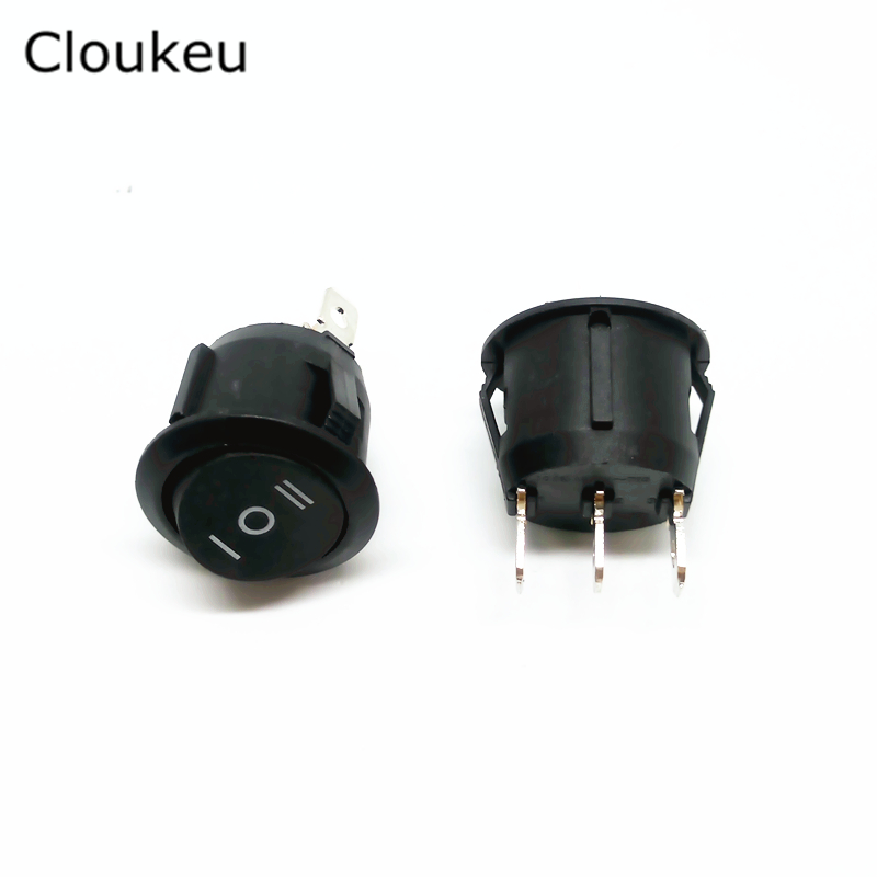 5Pcs 20MM Rocker Switch Round Black KCD1-105 3Pin 3File Seesaw Power switch 6A250V