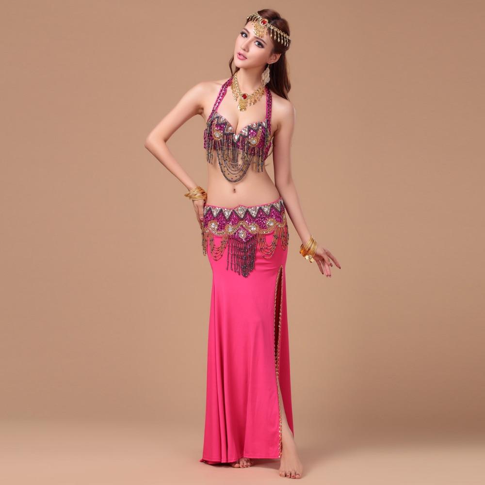 Performance 8 Colors Women Dancewear Professional Size S-L 3pcs Outfit Bra Belt Skirt Long Oriental Beads Costume Belly Dance
