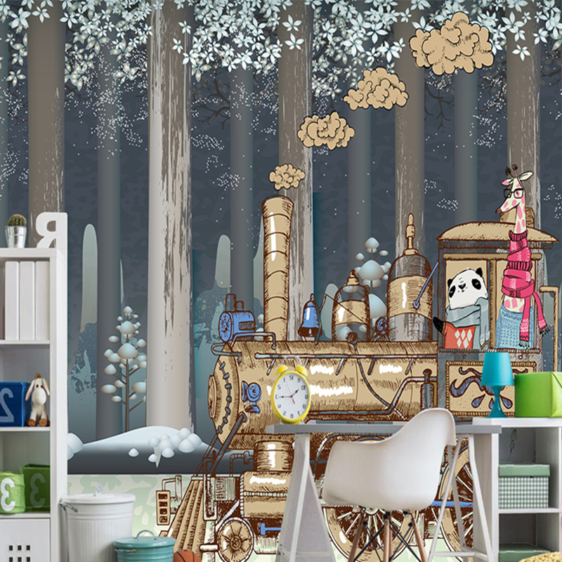 Custom 3D Photo Wallpaper Mural Nordic Cartoon Animals Forests 3D Background Murals Wall Paper for Chirdlen's Room Wall Paper custom 3d photo wallpaper mural nordic cartoon animals forests 3d background murals wall paper for chirdlen s room wall paper