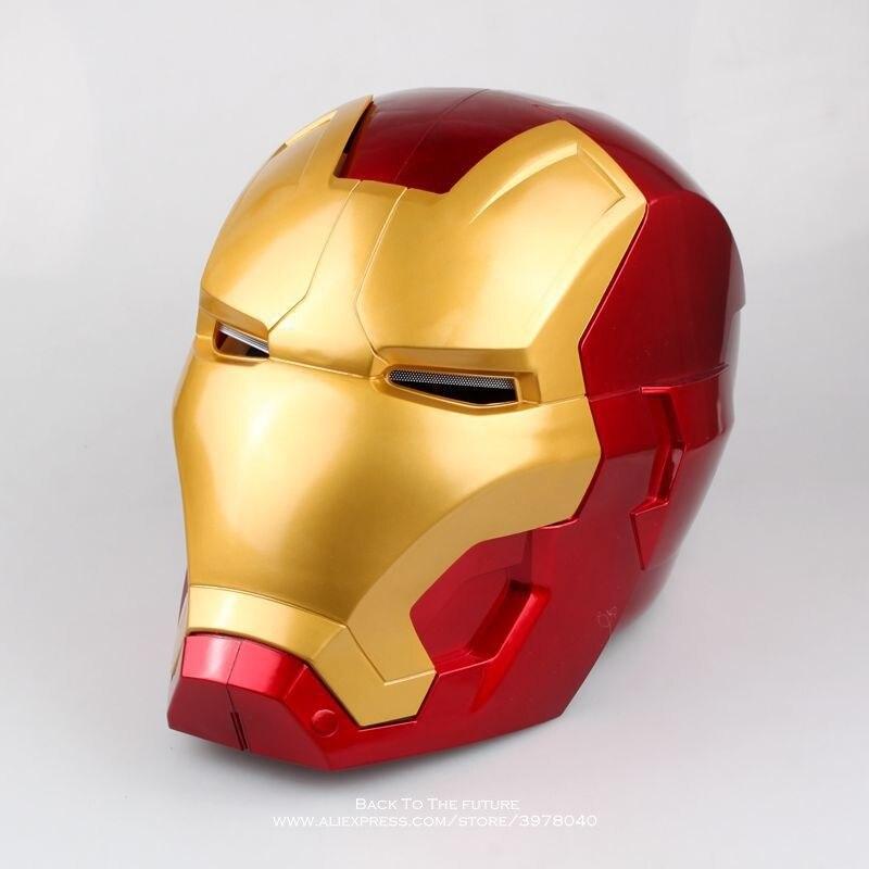Disney Avengers Iron Man 20cm Helmet Cosplay Helmet Ring Sensor Switch Light Eyes PVC Action Figure Collectible Model Toy цена