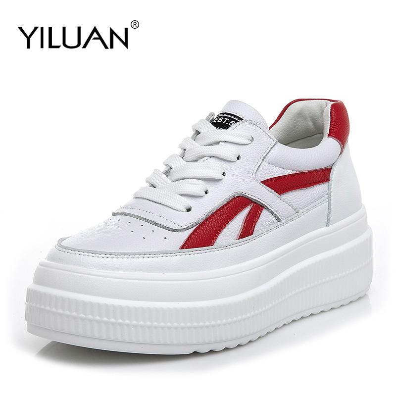 Yiluan Casual White Shoes Women Brand Platform Sneakers Lady Real Leather student Cross-tied Female footware Breathable