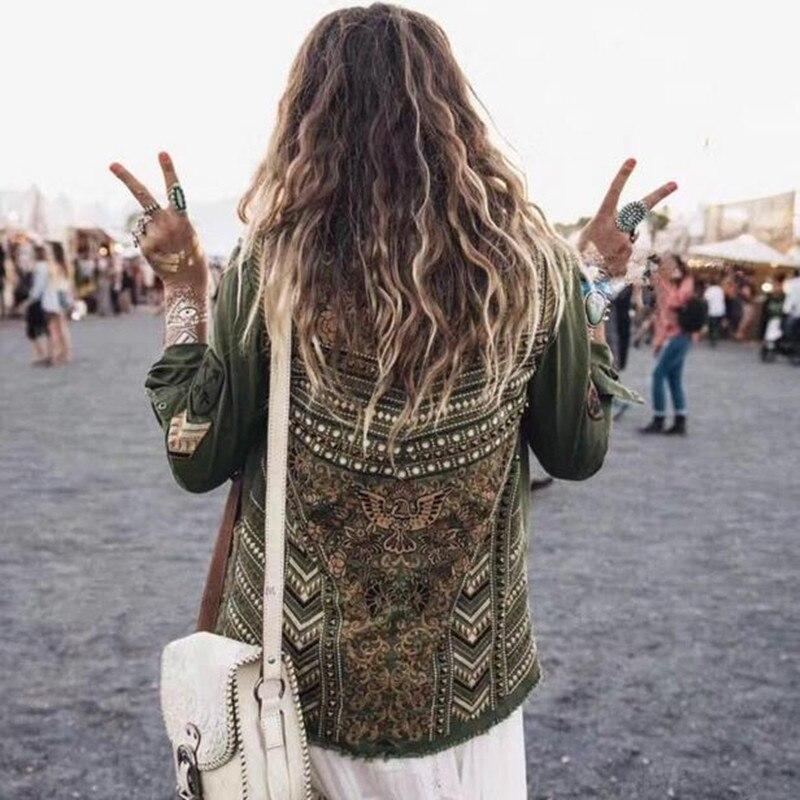 Заклепки цветочной вышивкой армия зеленый пантера Украшенные спереди карманы хлопок женщины свободные Весенние куртки и рубашки