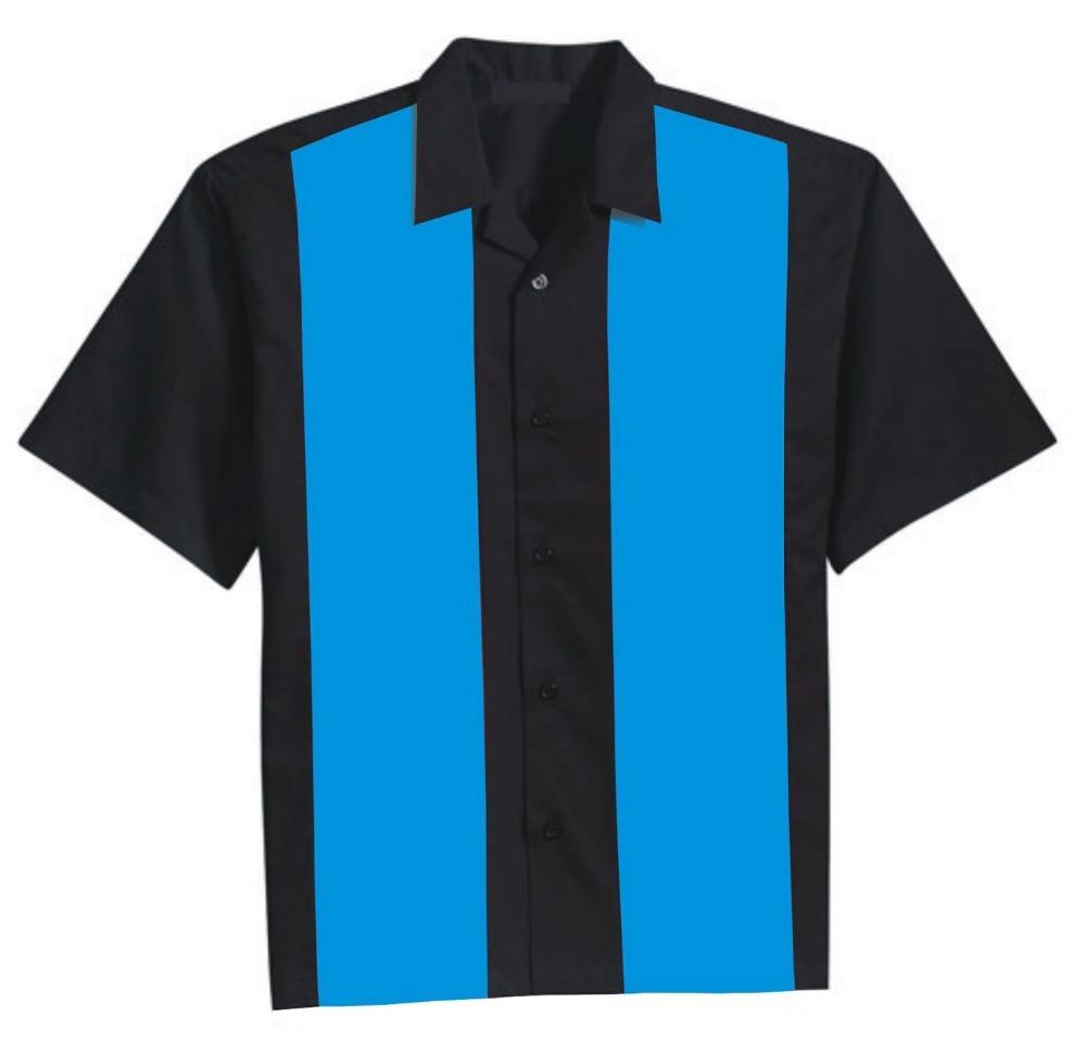 Candow Look Online Shopping Short Sleeves Casual Blue Black Contrast Color Designer Mens Rock 'n' Roll Elvis Style Vintage Shirt