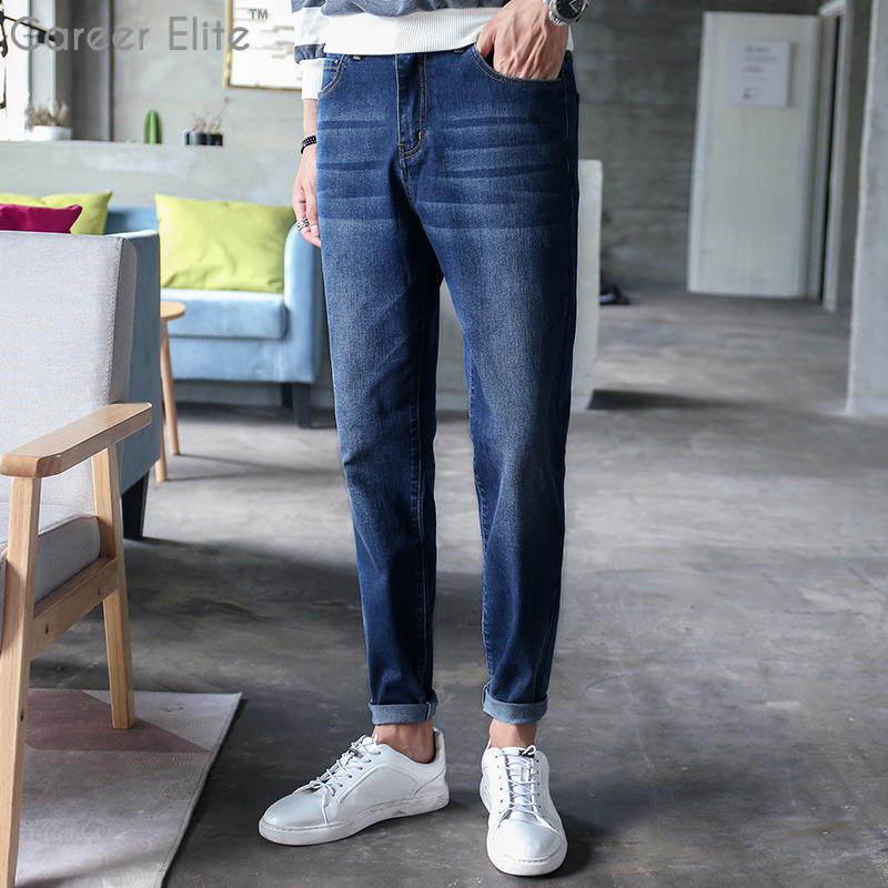 Mens Jeans Classic Direct Stretch Dark Blue Business Casual Denim Men Jeans Slim Scratched Long Trousers Gentleman Cowboys Size