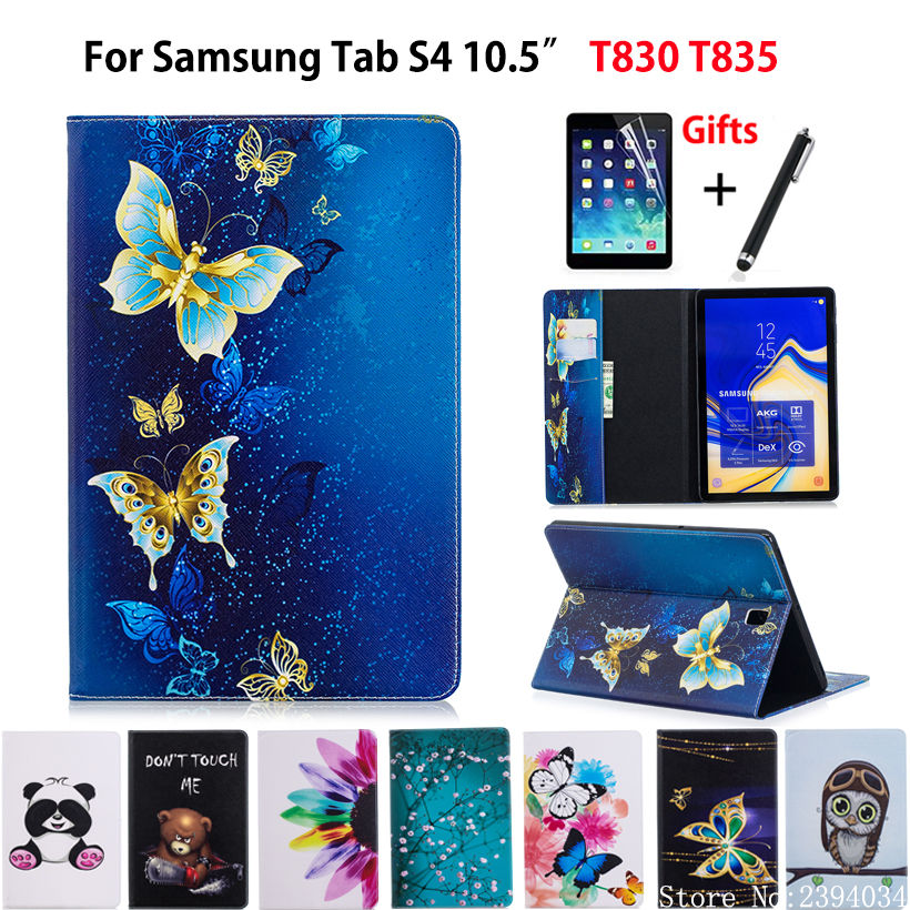 Case For Samsung Galaxy Tab S4 10.5 T830 T835 SM-T830 SM-T835 10.5 Cover Funda Tablet Fashion painted Coque Shell +Film+Stylus removable bluetooth keyboard leather case for samsung galaxy tab s4 10 5 inch t830 t835 sm t830 cover funda with pencil holder