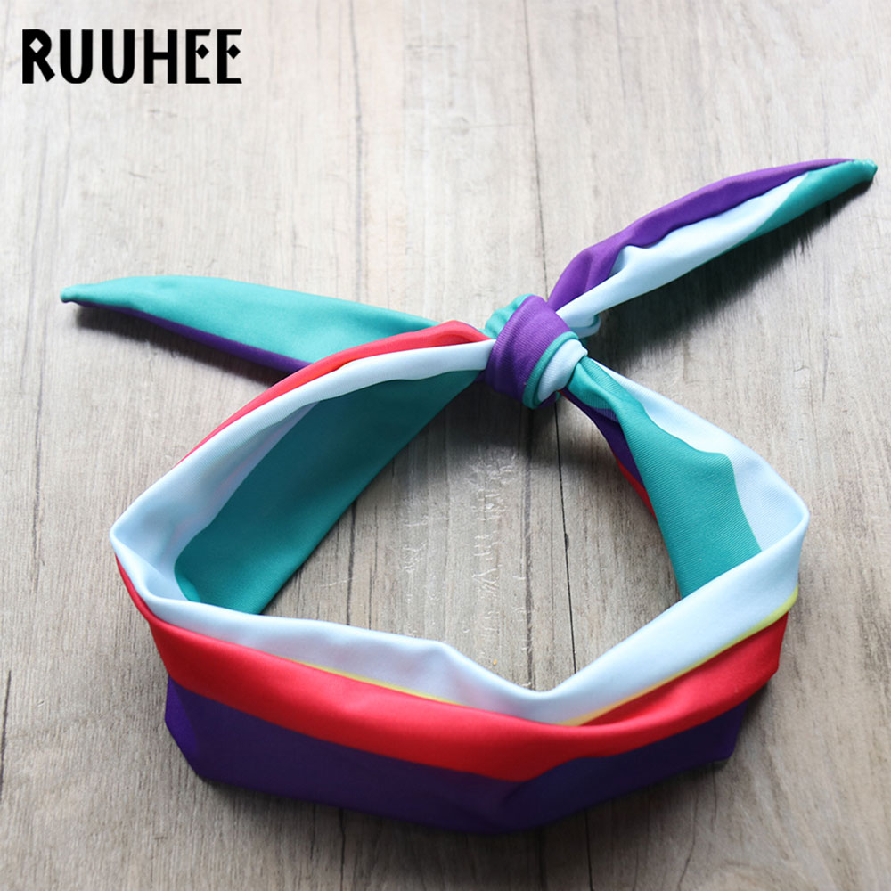 RUUHEE Children One Piece Swimsuit 2018 Rainbow Striped Swimwear For Kids Swimming Suit Baby Scarf Bathing Suit Girls Beachwear