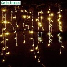 Строка Рождественские огни на открытом воздухе украшения Висячие 5 м длина свисания 0,3 м/0,4 м/0,5 м занавес светящиеся гирлянды светодиодные фонари сад вечерние 220V 110V