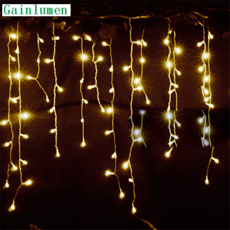 Строки Рождество наружной отделки падение 4.5 м свисать 0.3 м/0.4 м/0.5 м занавес сосулька строка светодиодные фонари Garden Party 220 В