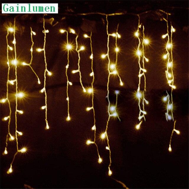 문자열 조명 크리스마스 야외 장식 드롭 5m 부대 0.3m/ 0.4m/0.5m 커튼 고드름 문자열 led 조명 정원 파티 220V 110V