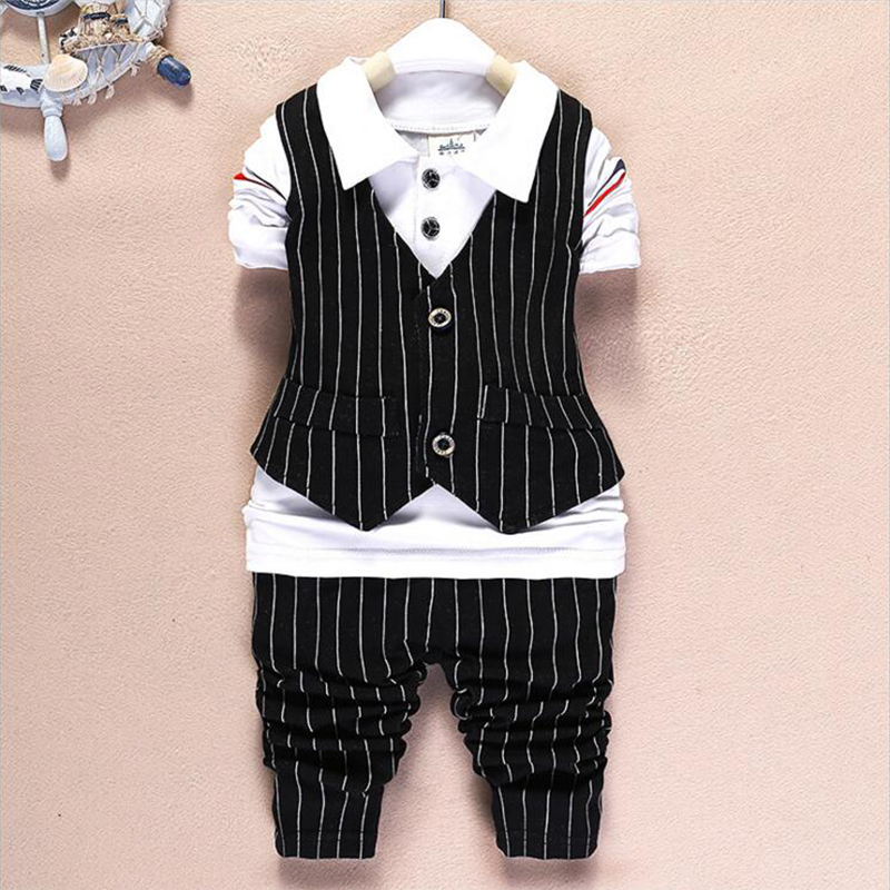 Baby Wardrobe Store kids baby boy clothes 2016 new spring British style toddler baby suits 3pcs plaid outwear waistcoat+long sleeve T-shirt+pants
