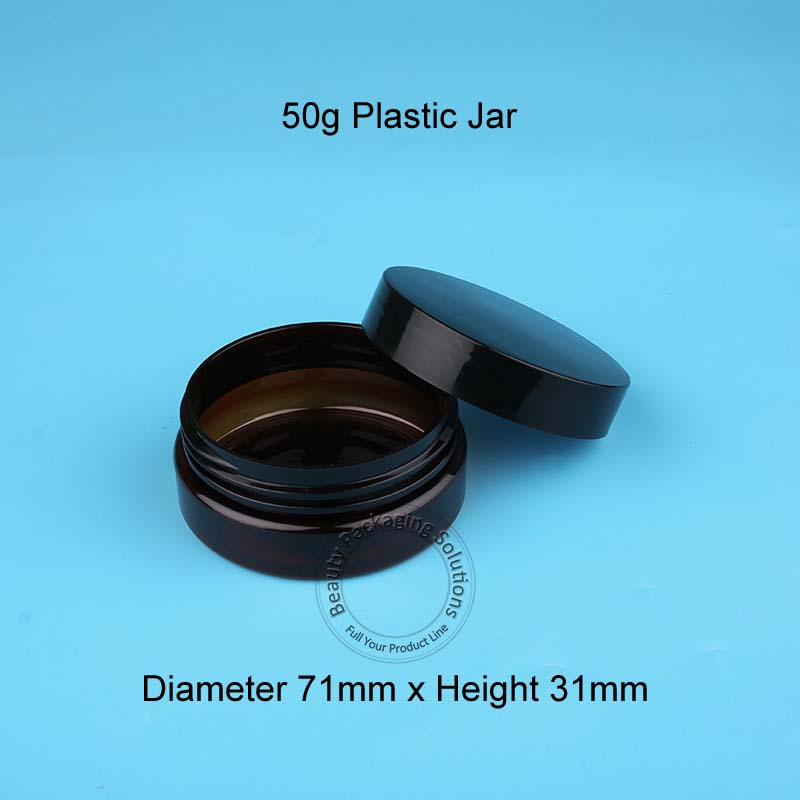 50pcs Lot Wholesale 50g Empty Plastic Cream Jar Amber Women Cosmetic Bottle Small Black Lid Pot