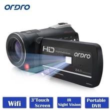 Ordro цифрового видео Камера HDV-D395 инфракрасного ночного видения видеокамеры Wi-Fi HD 1080 P 30fps с Пульты дистанционного управления двойной светодиодные фонари