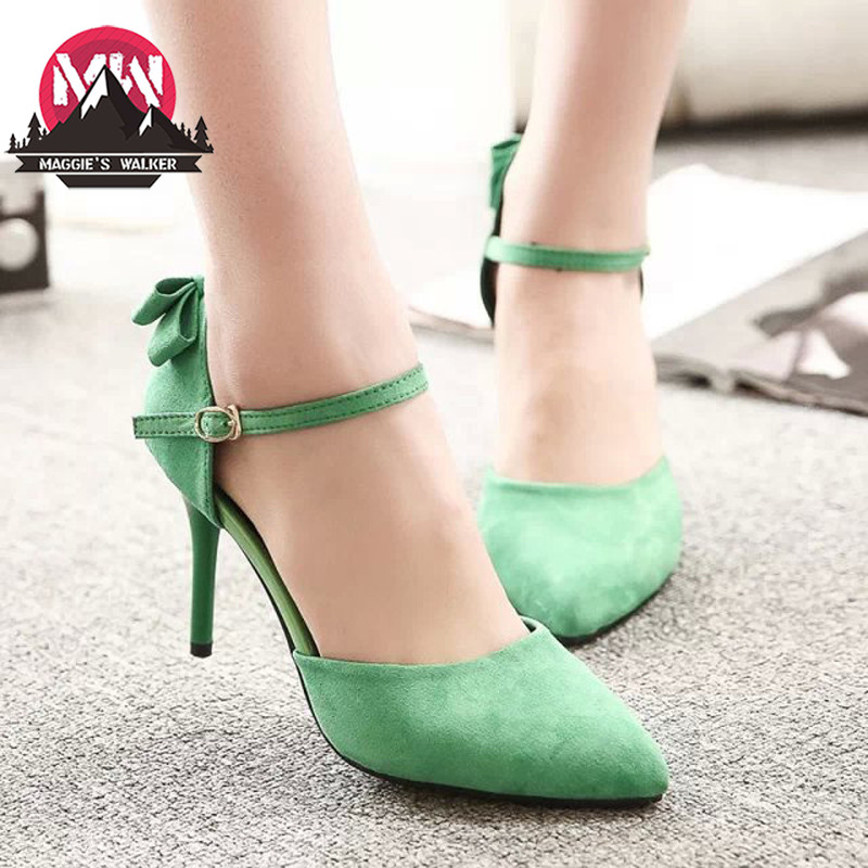 ФОТО MAGGIE'S WALKER Toe high heel shoes woman ladies bow high heels women new fashion sexy Party wedding shoes women pumps shoes