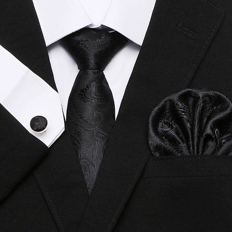 Joy Alice Classic Blue Black  Plaids Checks Jacquard Tie Mens Wedding Necktie Set Handkerchiefs And Cufflinks