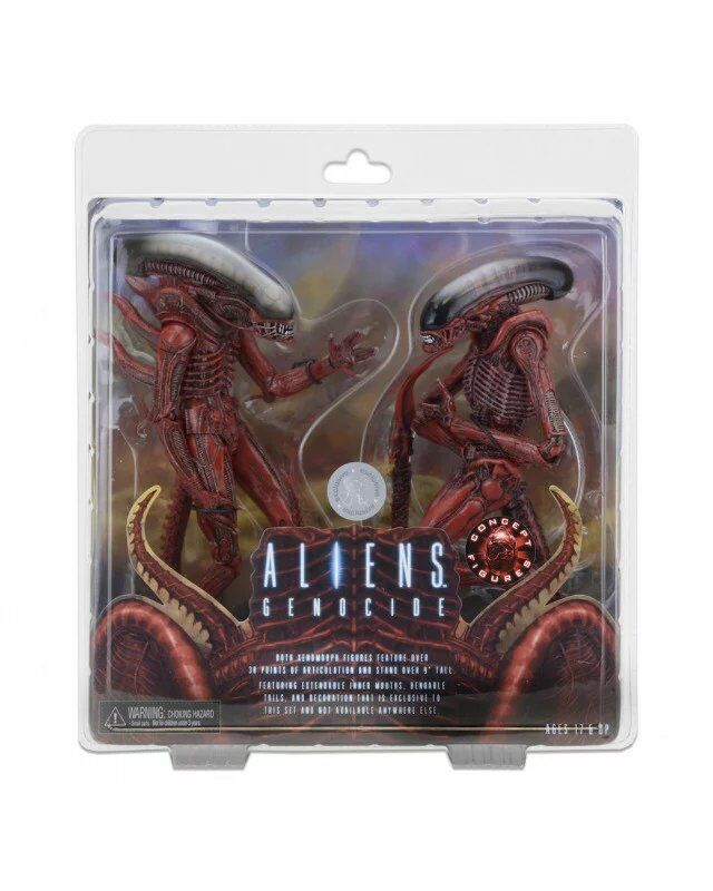 NECA Aliens Genocide Xenomorph Big Chap & Dog Alien Concept PVC Action Figure Collectible Model Toy 2-pack 7 18cm neca official 1979 movie classic original alien pvc action figure collectible toy doll wf074