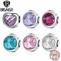 BISAER 925 Sterling Silber Birthstone Perles Radiant Droplet Rosa CZ Kristall Perlen Charme fit Silber 925 Armband Schmuck Machen