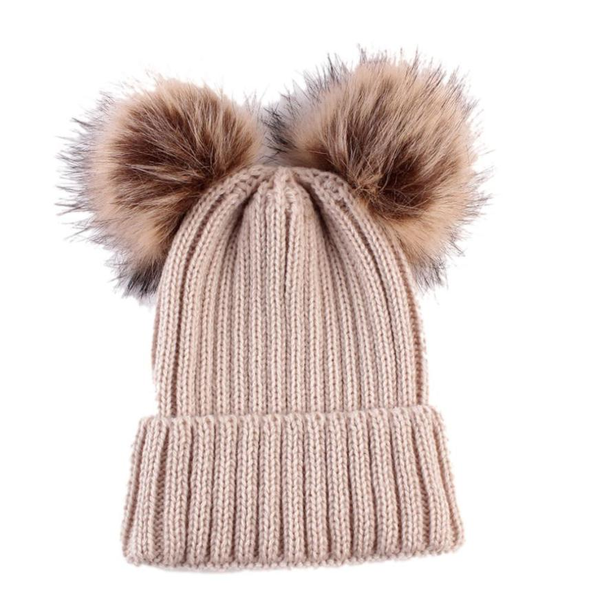 2017 Pom Children Winter Hat For Girls Hat Knitted Beanies Cap Brand New Thick Baby Cap Baby Girl Winter Warm Hat Fit for 0-36M