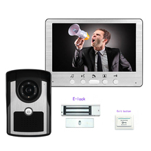 """Freeship 7 """"color video de la puerta teléfono sistema de intercomunicación con cable timbre de la puerta de vídeo con la cámara de INFRARROJOS manos libres monitor + cerradura eléctrica"""