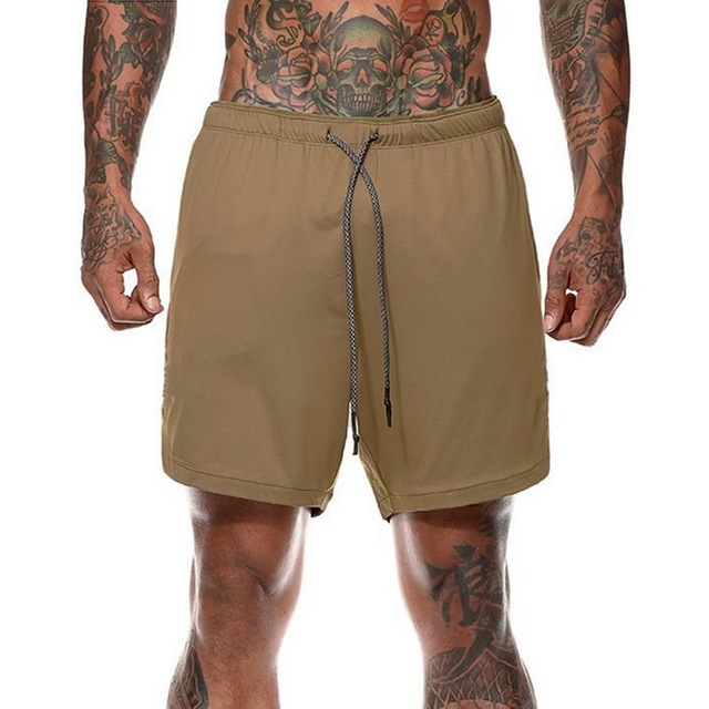 Mens Secure Pocket Shorts 2-Layers Workout Fitness elastic waist Short Quick-drying Breathable 2 in 1 Joggers shorts 1