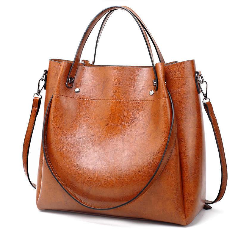 Retro Boston kadın hakiki deri çantalar büyük kapasiteli yağ balmumu inek deri Tote çanta bayanlar omuz askılı postacı çantaları yeni C874