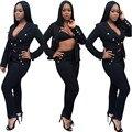 Profundo Decote Em V Blazer Mulheres Magras Blazer Suits Pant Define Sexy um Botão Jaquetas Casaco Casuais Outwear Blazer Preto E Calça conjunto