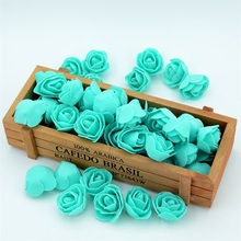 100PCS Mini PE Foam Rose Flower Head  Handmade DIY Wedding Car Home Party Decoration DIY Scrapbooking Wreath Gift Fake Flower
