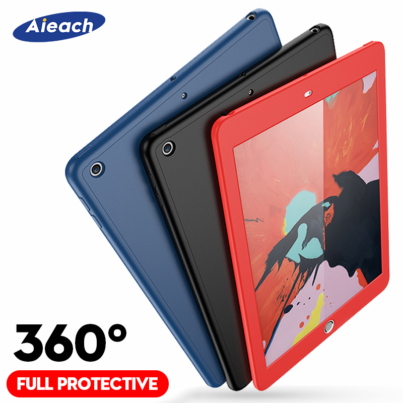 360 Degree Full Cover Case For Apple New iPad 9.7 2018 2017 With Tempered Glass Silicone Case For iPad 5th 6th Generation Funda