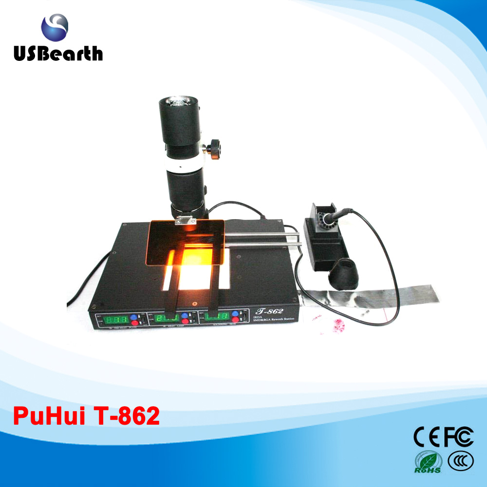 PuHui T-862 infrared weld machine BGA rework  station for motherboard repairing, free tax to russia puhui t862 irda infrared bga rework station bga smd desoldering rework station free tax to eu