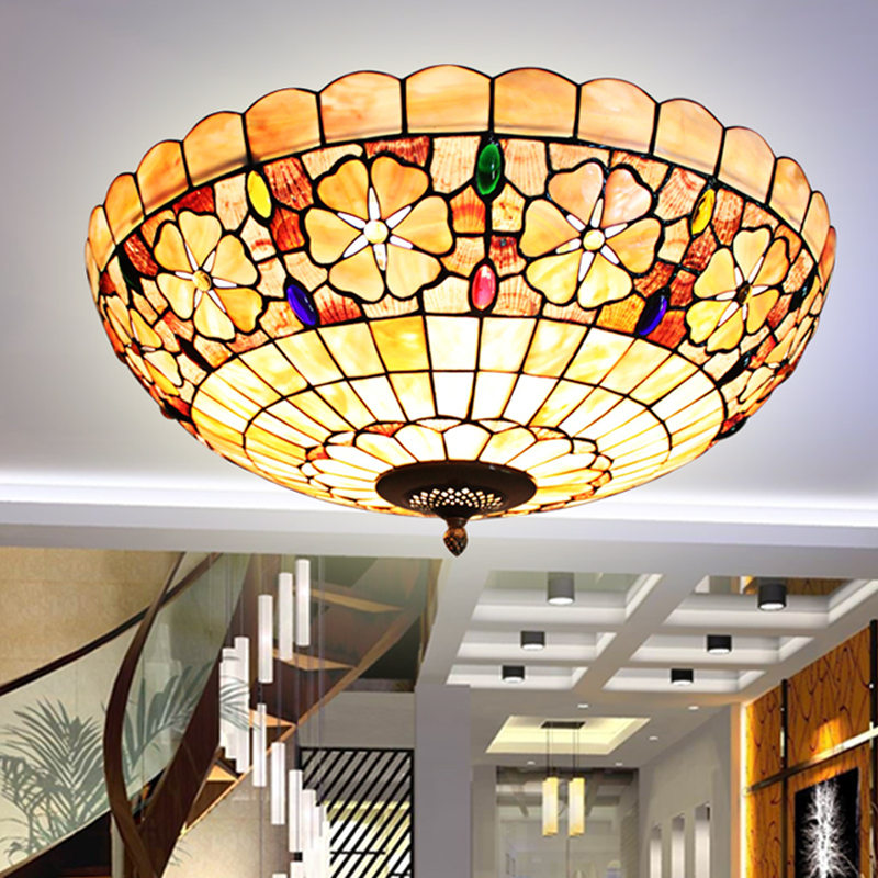 Tiffany Mediterranean style natural shell ceiling lights lustres night light led lamp floor bar home lighting