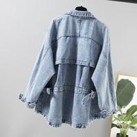 2019 Autumn New Women Denim Jackets Long Sleeves Casual Loose Jeans Bomber Jacket Large Size Windbreaker Female Outerwear R790